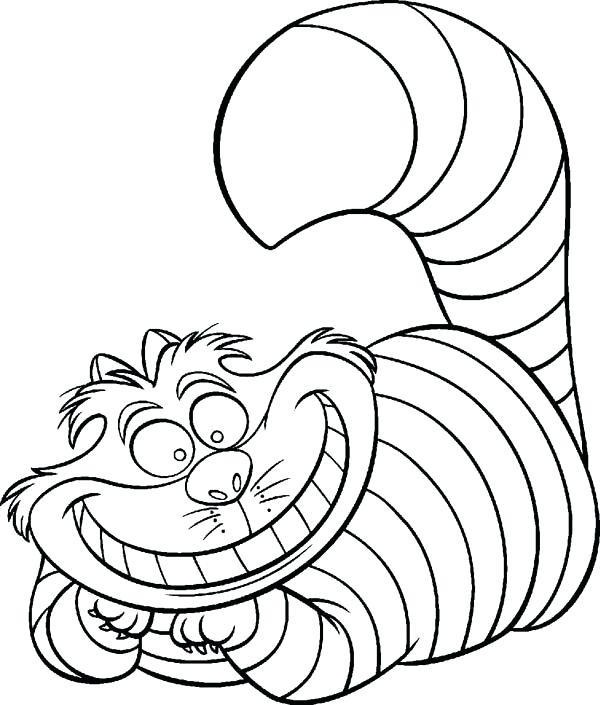 600x705 In Wonderland Character Cat Coloring Page Download In Wonderland