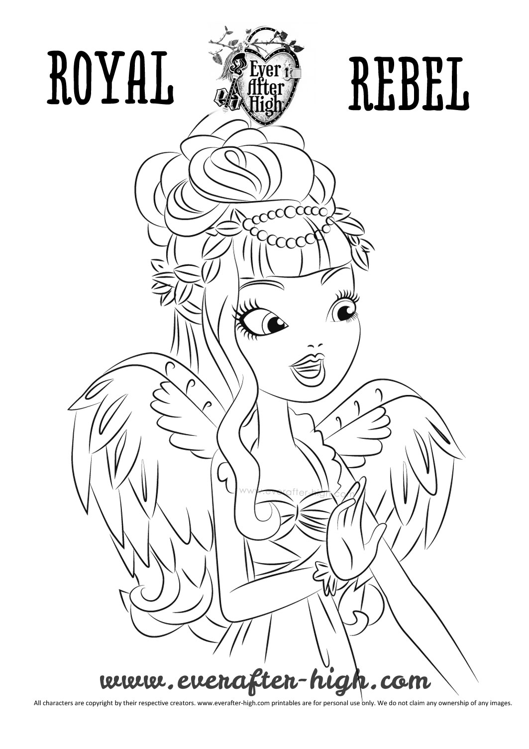 1063x1504 C A Cupid True Hearts Day Coloring Page Ever After High