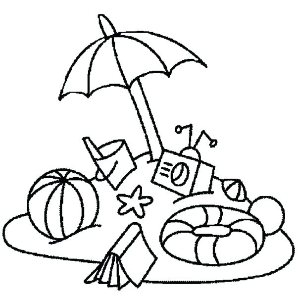 600x600 Everything You Need On Beach Vacation Coloring Page Download