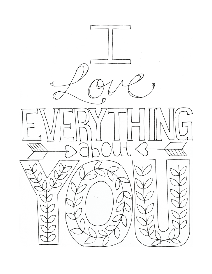 728x942 I Love Everything About You Coloring Page