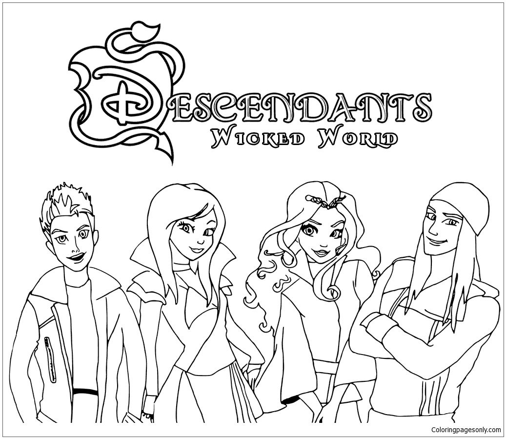 1037x899 Descendants Wicked World Coloring Page Httpcoloringpagesonly