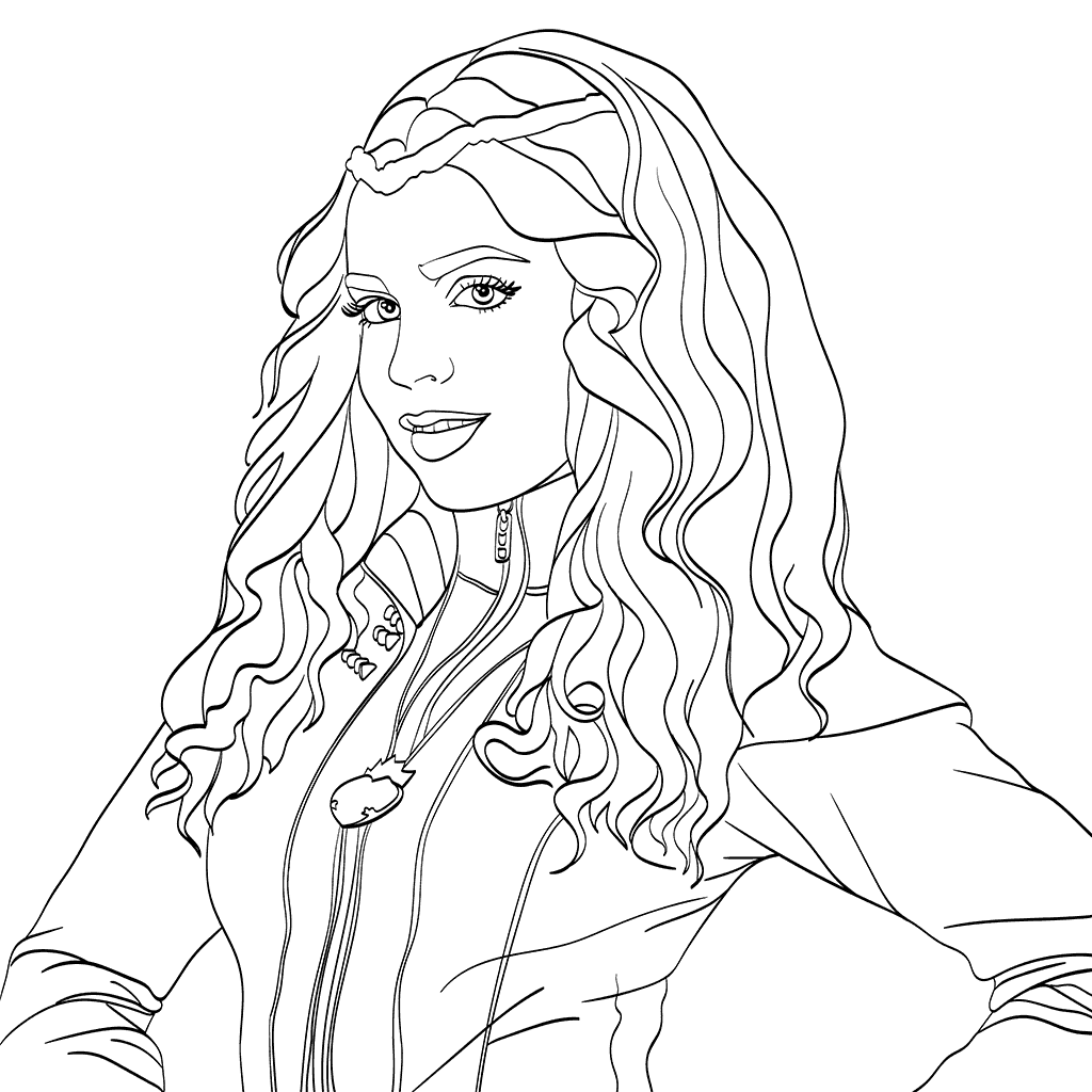1024x1024 Evie Descendants Coloring Page Milahny Bday Evie