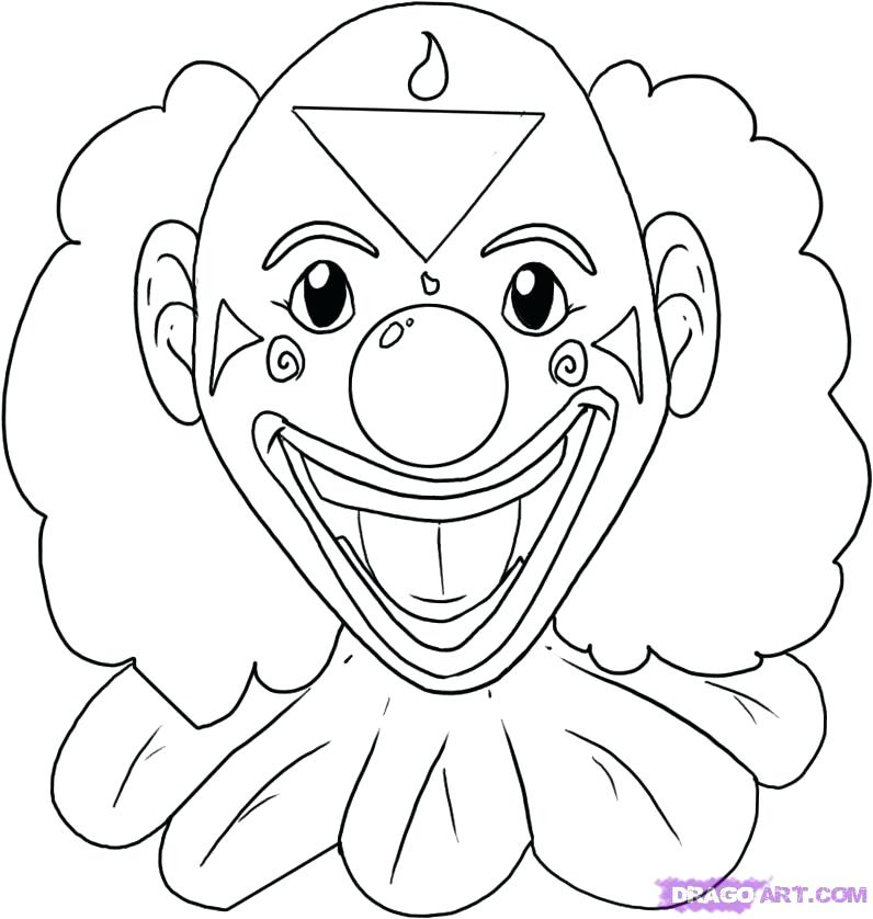 796x838 Clown Coloring Page Clown Drawing Free Coloring Pages Scary Clown