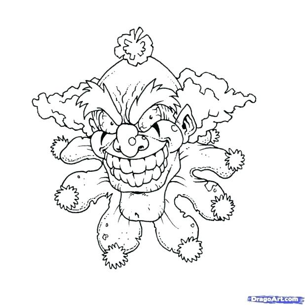 618x618 Scary Clown Colouring Pages Printable Coloring Scary Clown Pencil