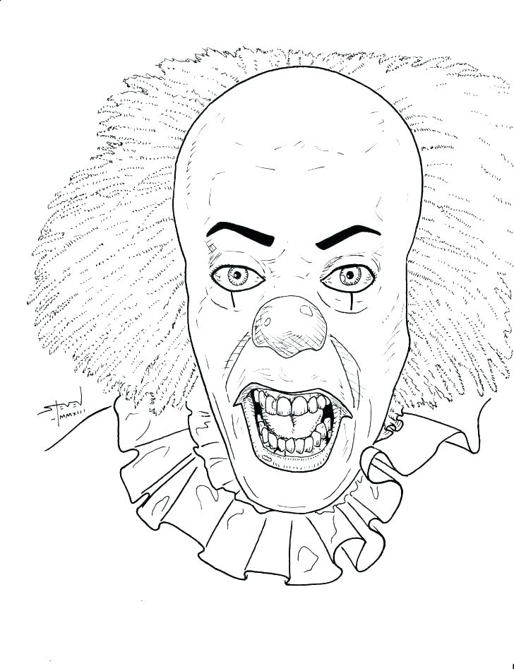 728x947 Clown Coloring Pages Evil Clown Coloring Pages Clown Coloring