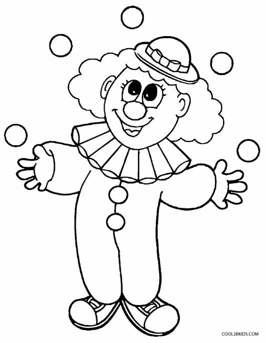531x685 Clown Coloring Pages For Preschoolers Printable