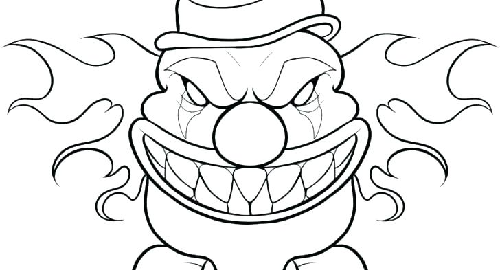 728x393 Clown Coloring Pages Scary Clown Coloring Page Free Printable