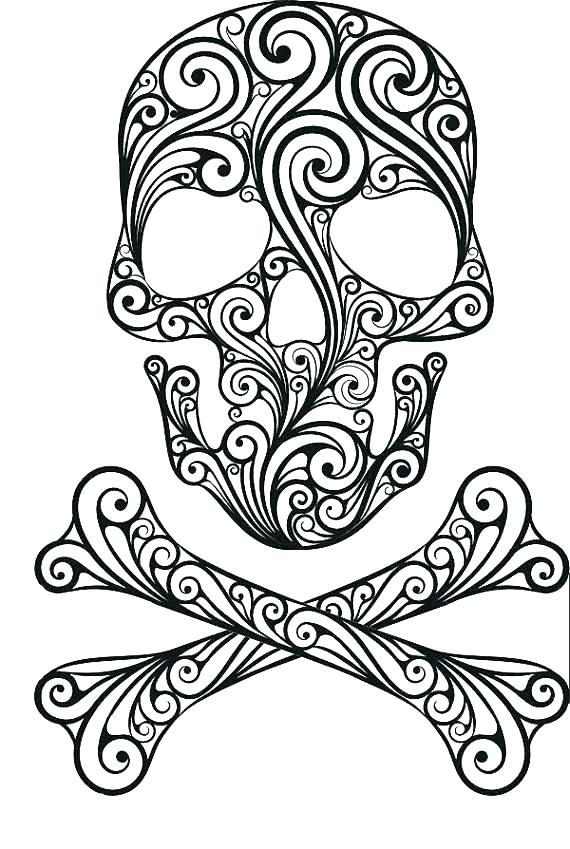 570x849 Skull Coloring Pages Evil Skull Coloring Pages Cool Sugar Skull