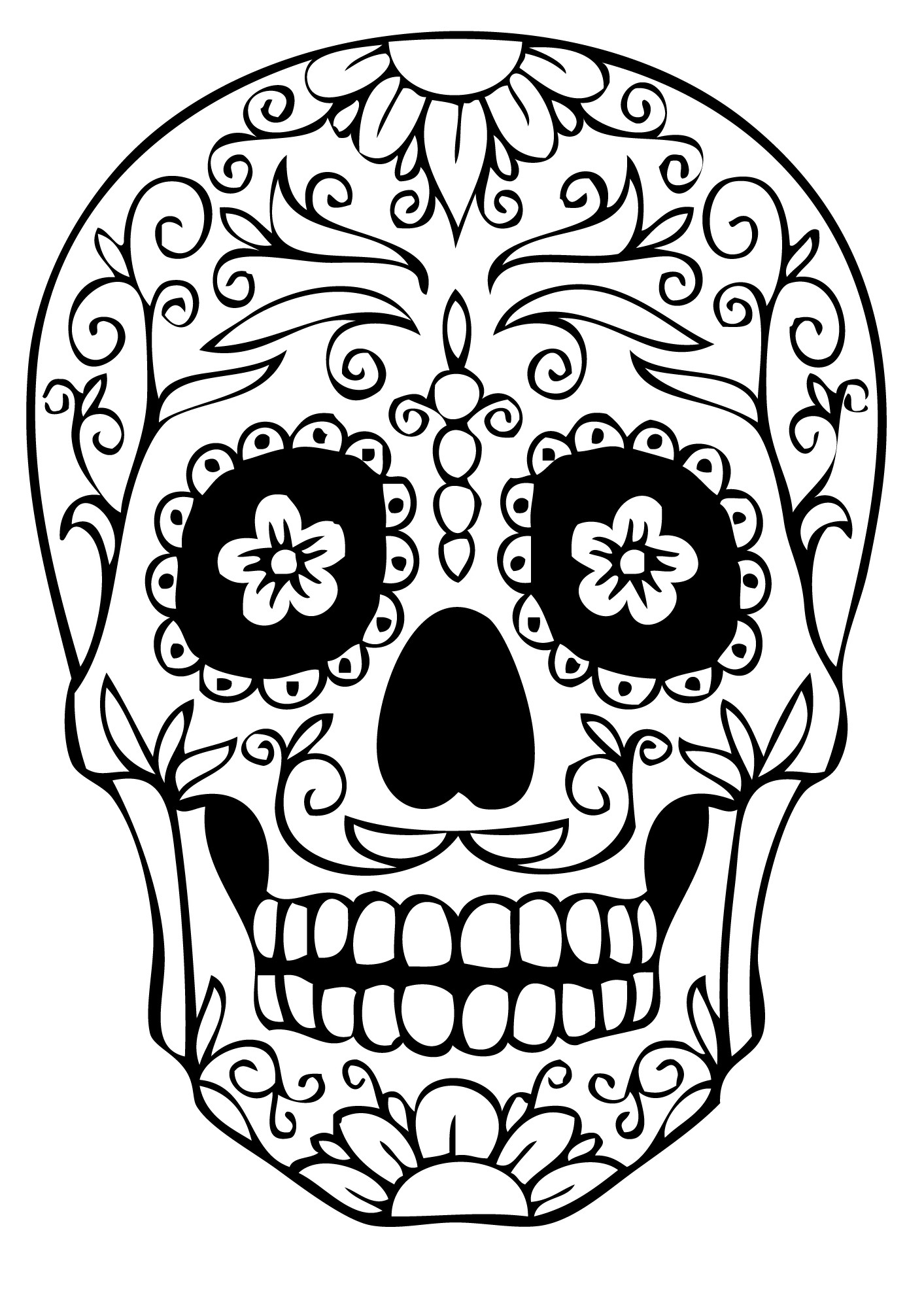 1413x2000 Skull Coloring Pages To Print Tixac