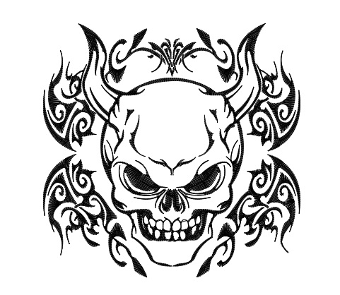 481x418 Demon Coloring Pages Tribal Skull