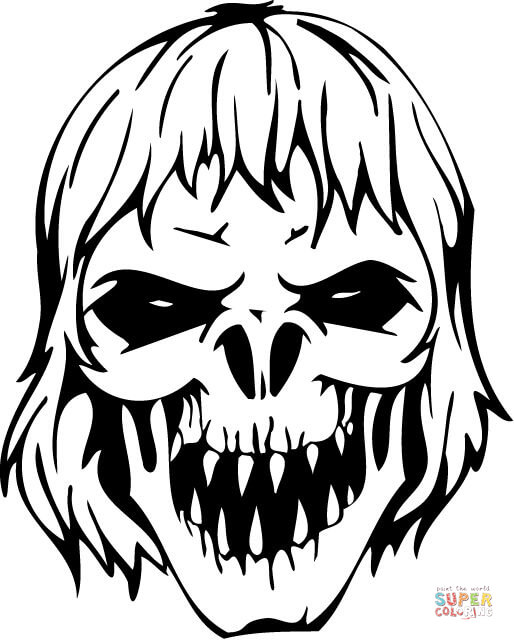 514x640 Scary Pictures To Color Scary Zombie Skull Coloring Page Free