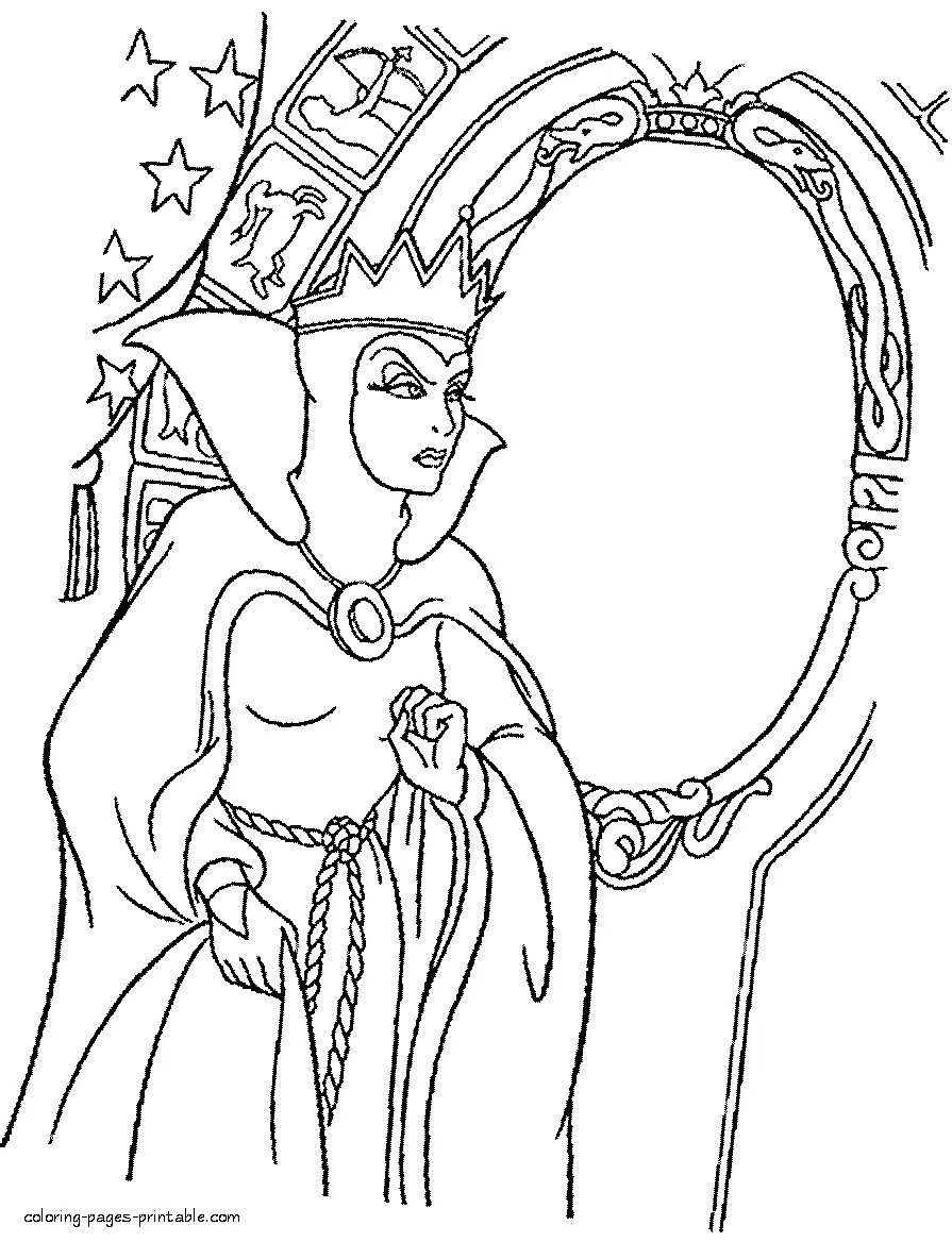 895x1168 Snow White And The Seven Dwarfs Coloring Pages Disney At Evil
