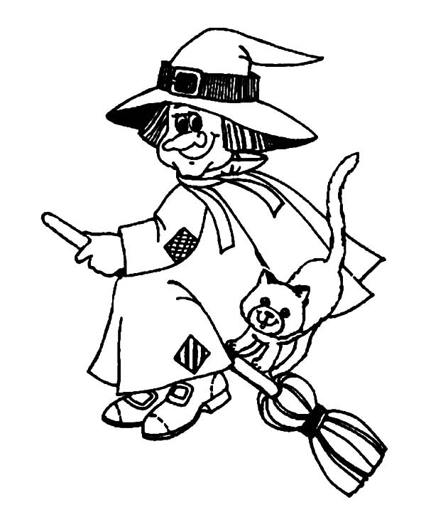 600x734 Witch And Evil Cat Coloring Pages Best Place To Color