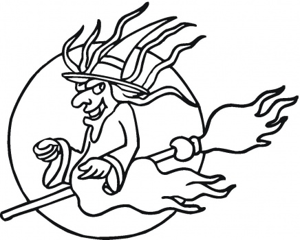 436x350 Halloween Coloring Pages Halloween Flying Witch Coloring Pages