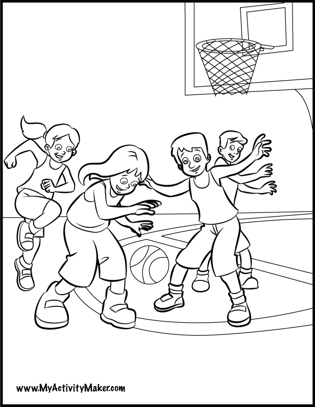 617x797 Kids Playing Basketball Coloring Page