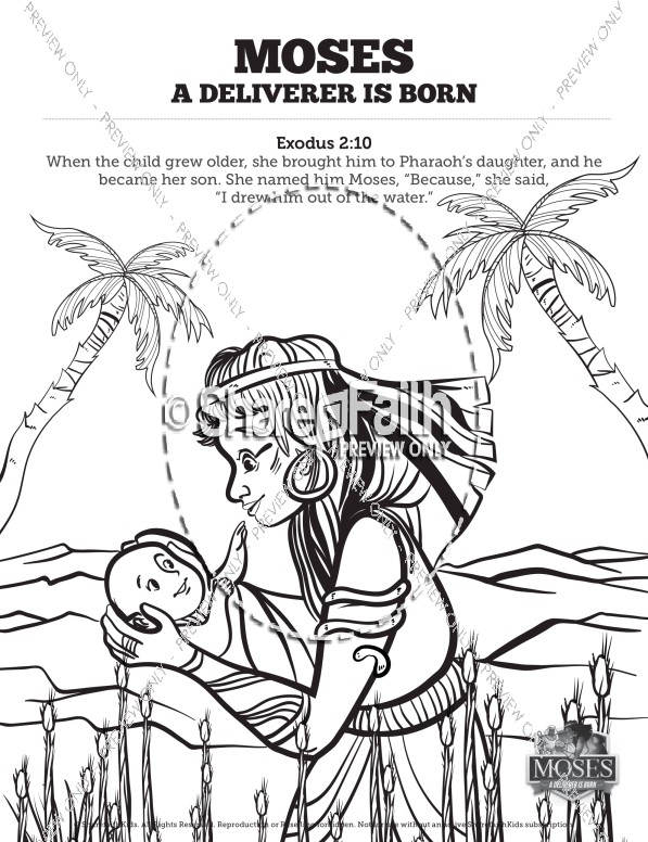 597x776 Exodus Baby Moses Sunday School Coloring Pages Sunday School