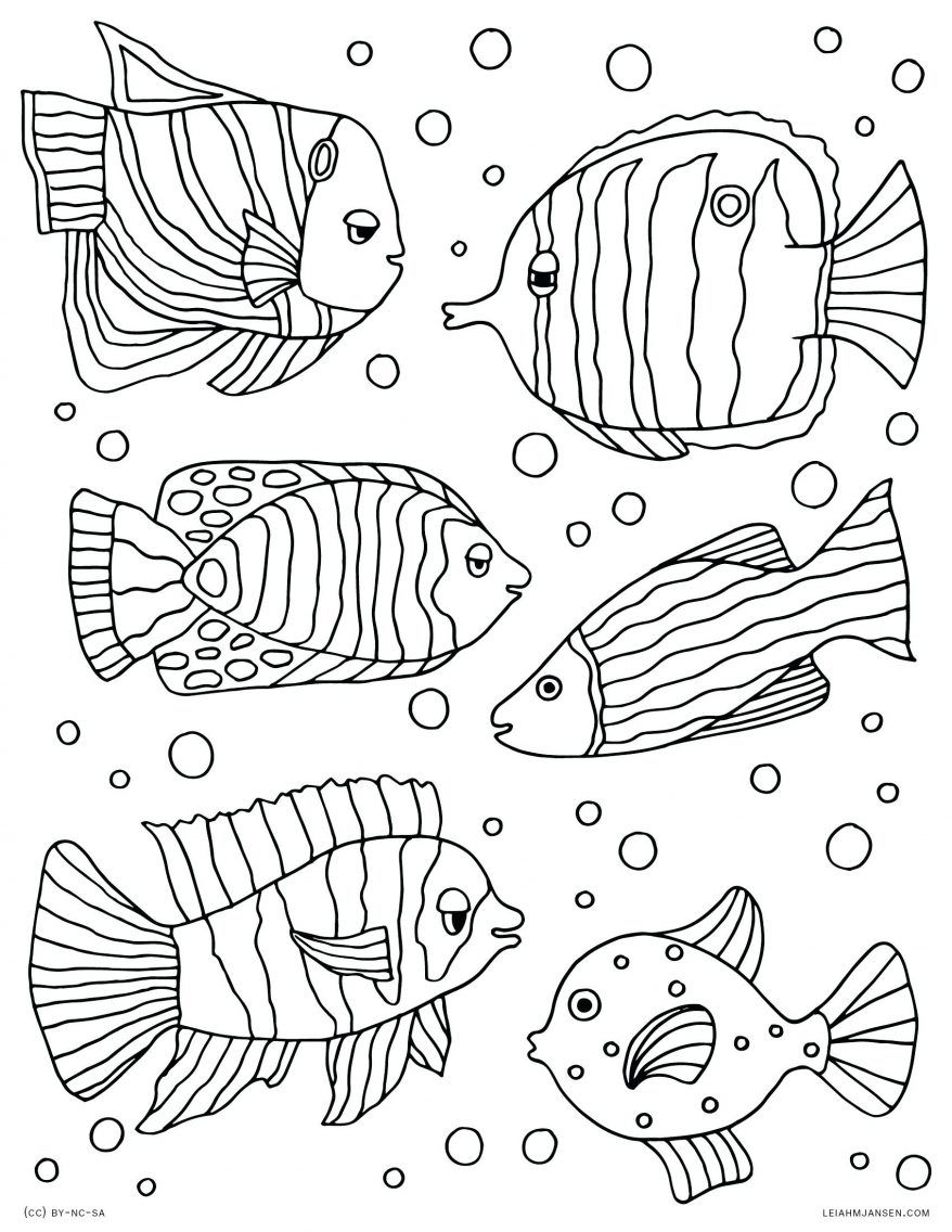 878x1136 Astonishing Tropical Fish Decorated Colorful Printable Coloring
