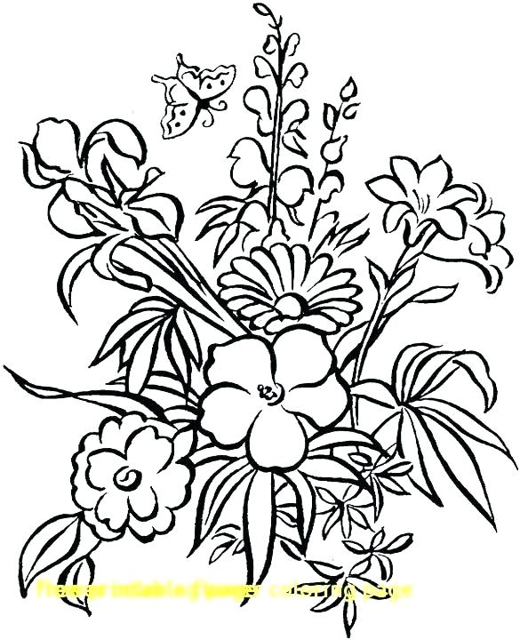 585x720 Tropical Flowers Colouring Pages Flower Coloring Printable Color