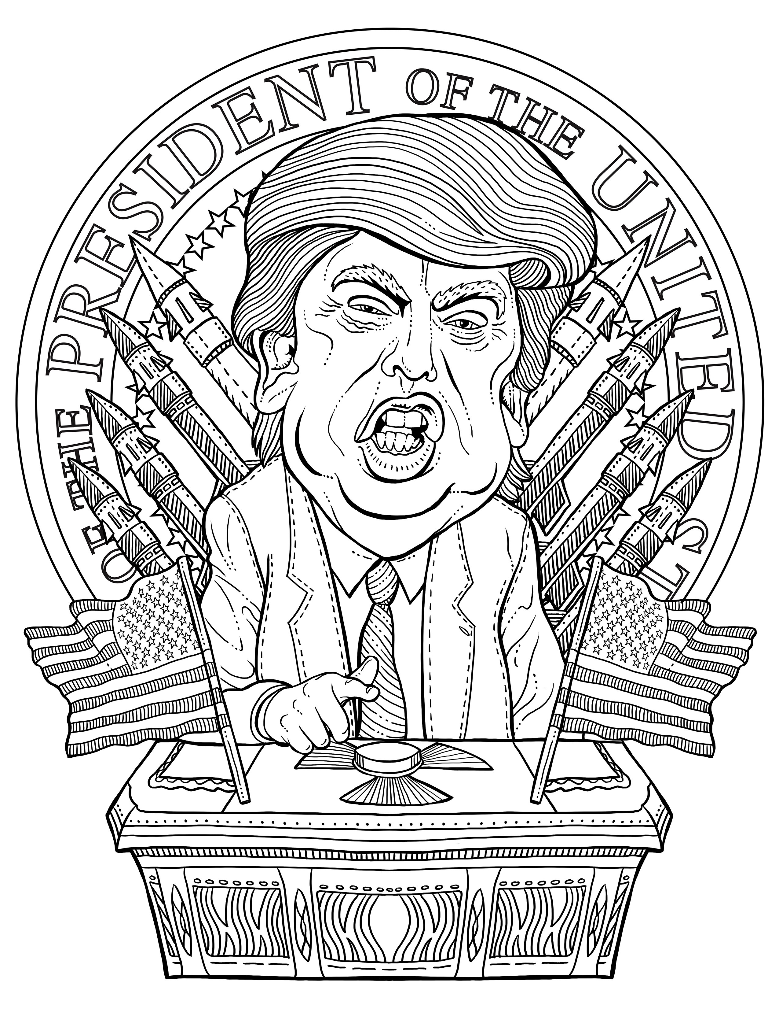 2550x3300 Expert Donald Trump Coloring Pages The Most Te