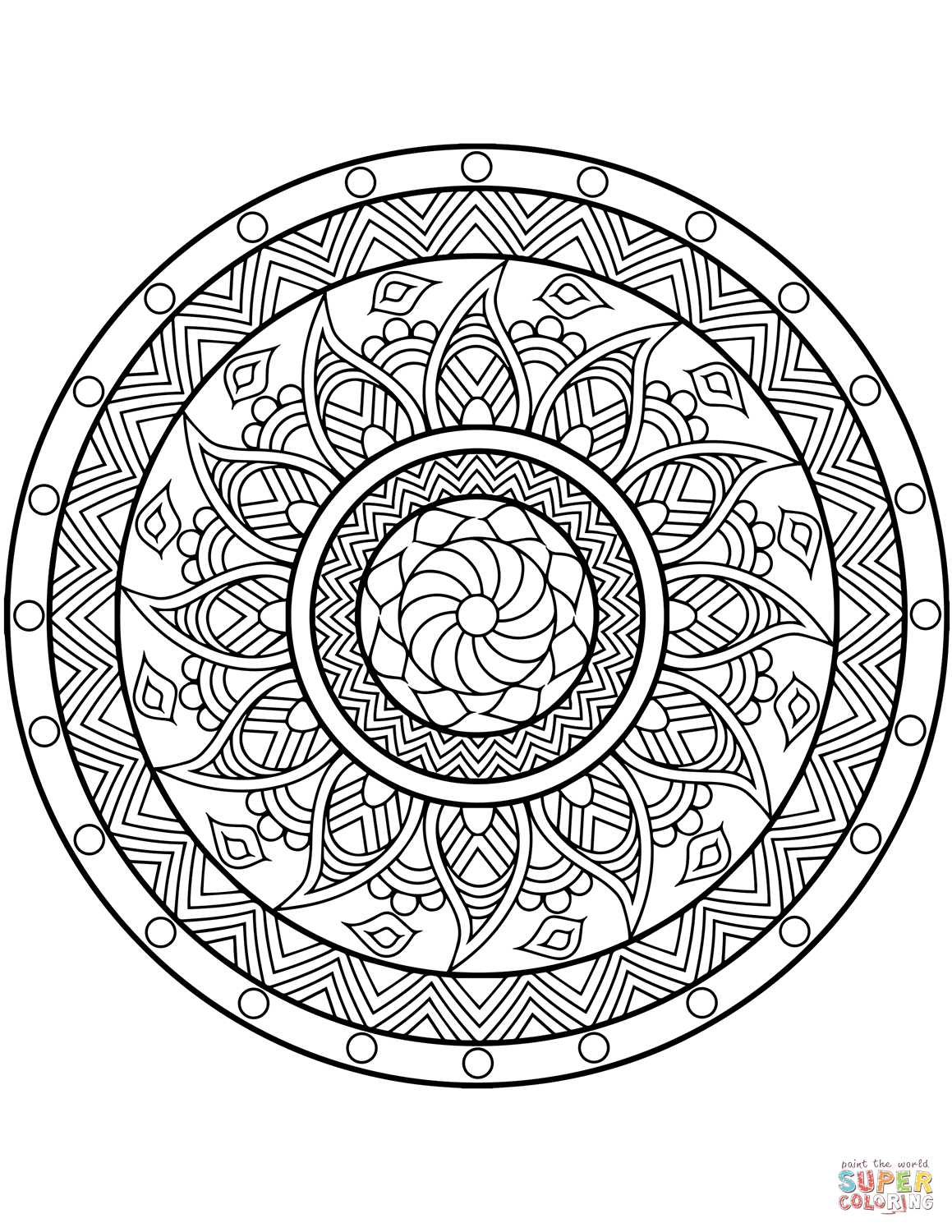 1159x1500 Mandala Coloring Pages Free Showy Expert Level