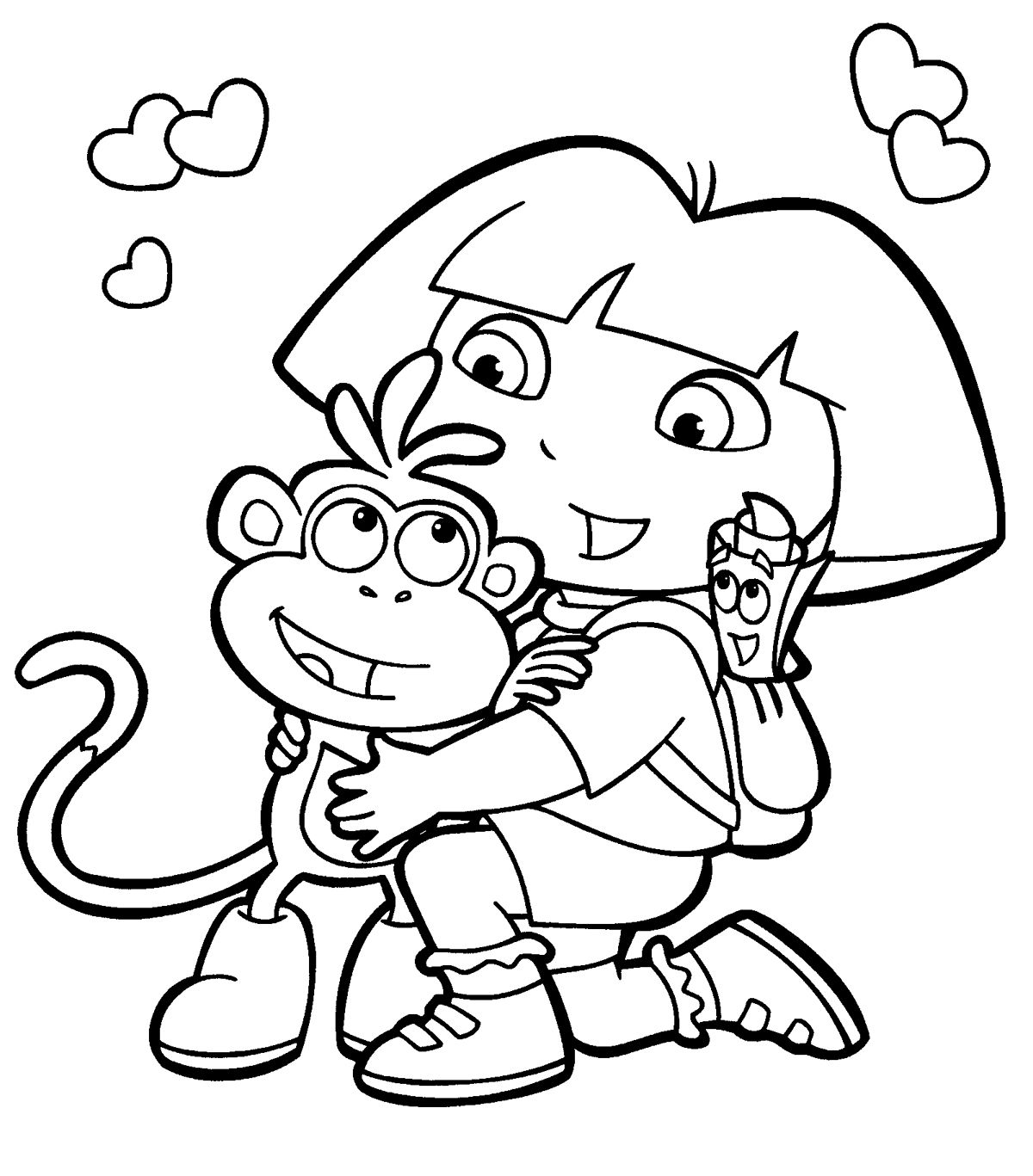 1200x1367 Coloring Book Pages Free Nickjrs Dora The Explorer Coloring Book