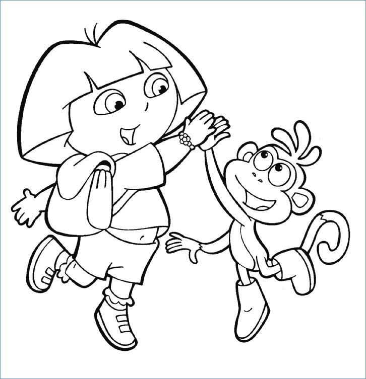 726x753 Boots The Monkey Dora The Explorer Coloring Page