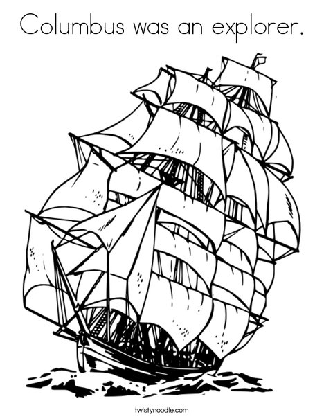 468x605 Columbus Was An Explorer Coloring Page