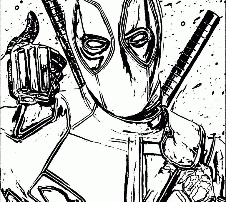 768x689 Deadpool Symbol Coloring Pages New Copy Printable Hard Extreme