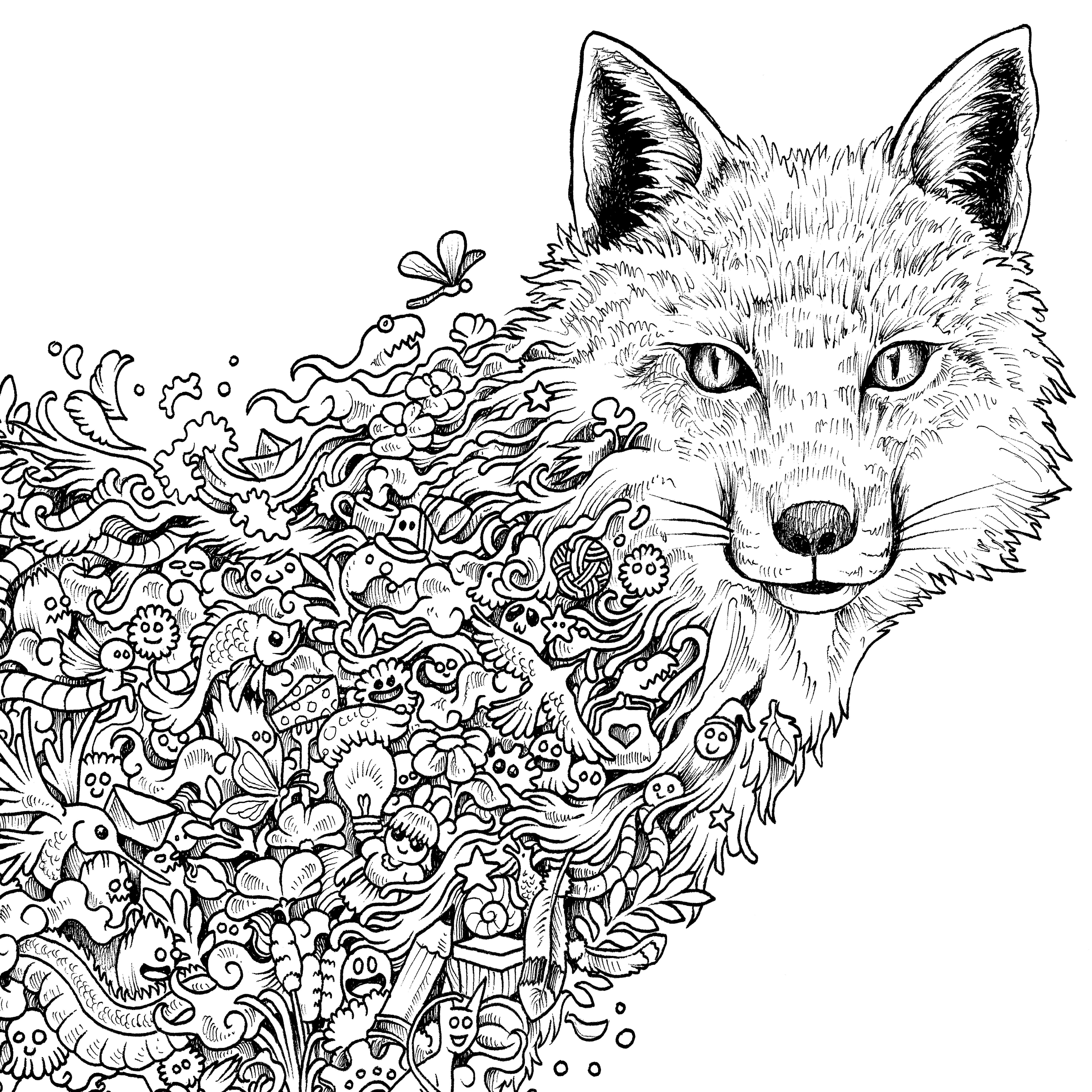 6000x6000 Extreme Coloring Pages To Print Of Adult Coloring Pages Fox