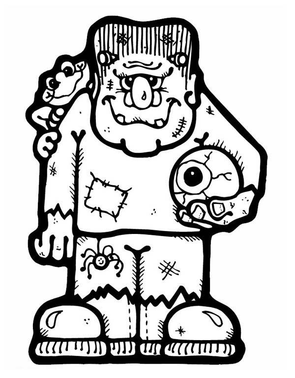 600x769 Frankenstein With An Eye Ball Coloring Page