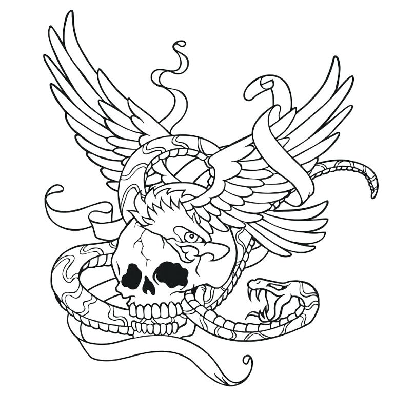 768x768 Skull With Wings And Snake Coloring Page Tattoo App Snake Eyes