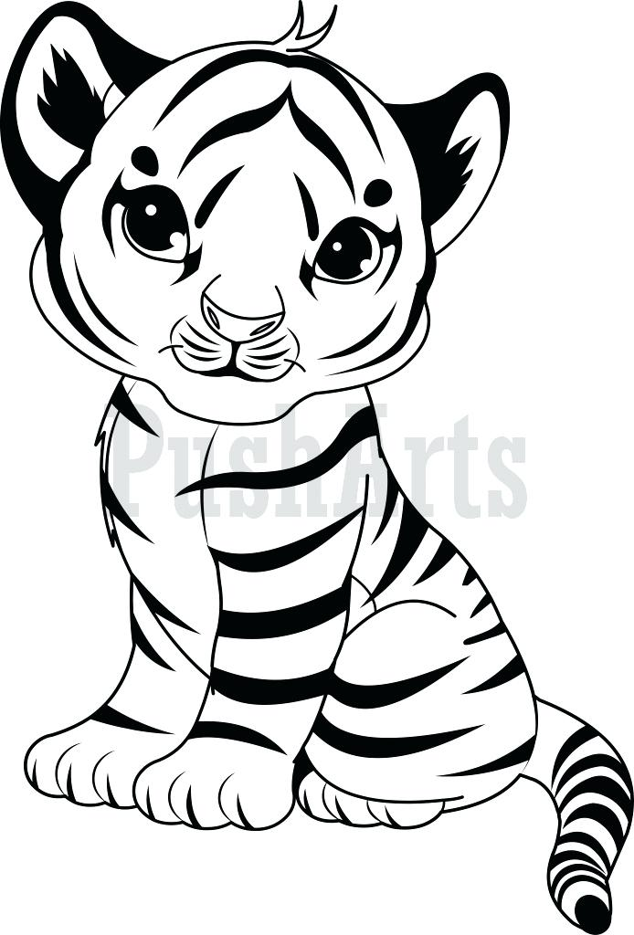 694x1024 Tiger Printable Coloring Pages Cute Baby Tiger With Big Eyes