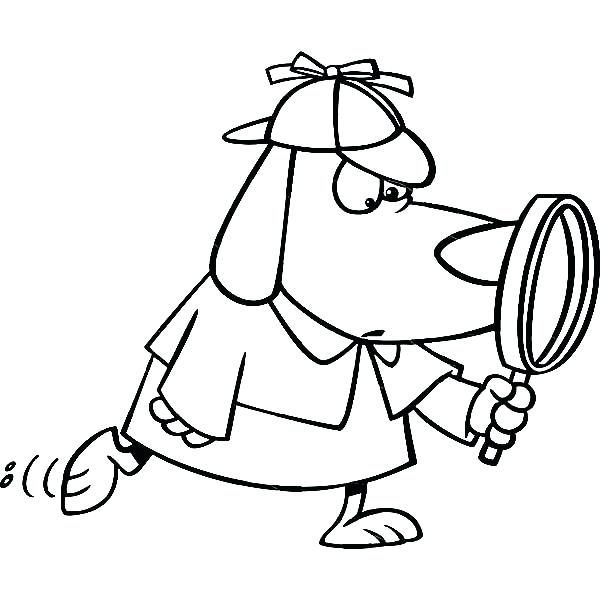 600x612 Lips Coloring Pages Detective Dog With Magnifying Glass Coloring