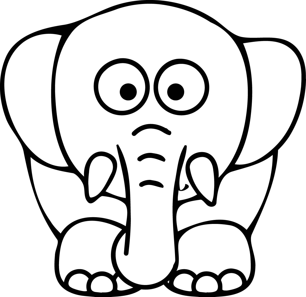 1224x1187 Elephant Face Coloring Page