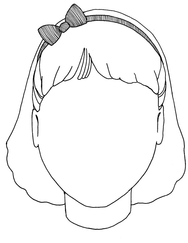 600x776 Girl Blank Face Coloring Page