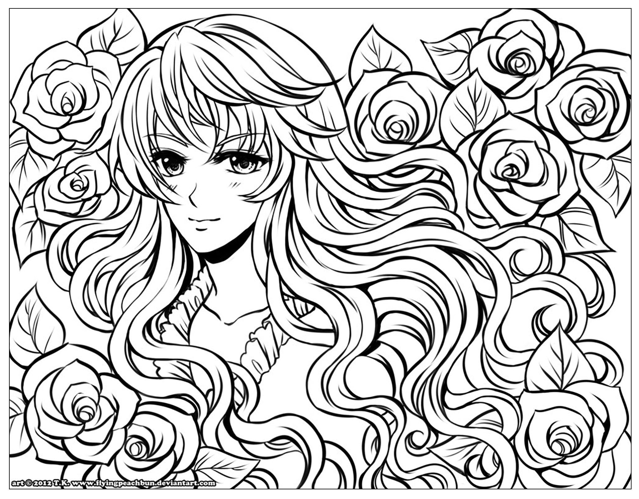 2053x1603 Manga Girl With Flowers