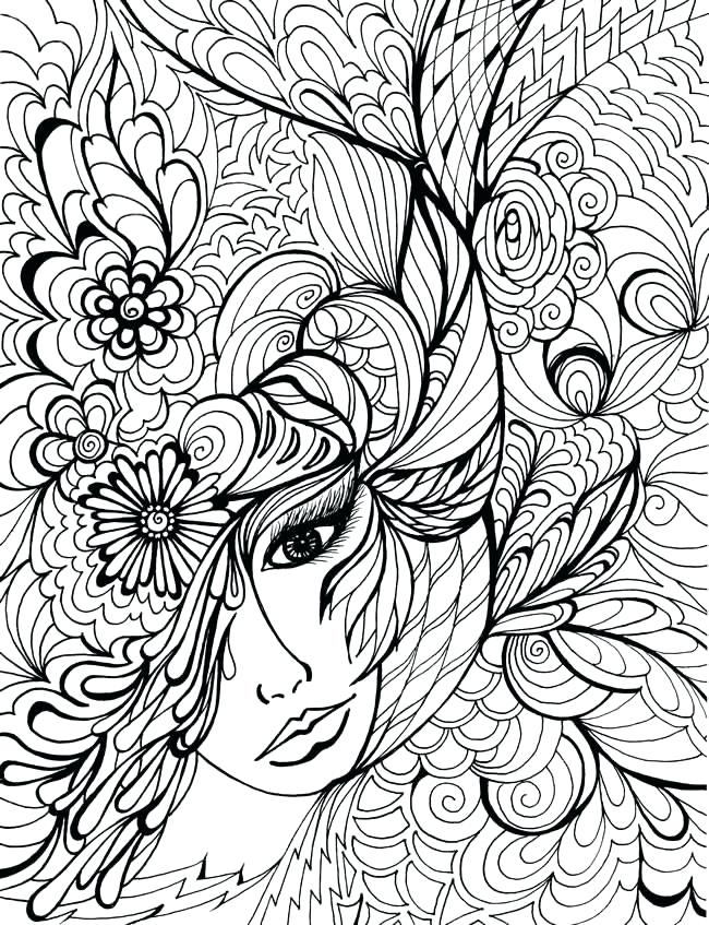 650x847 Photo Color People Ladies Woman Face Happy Face Coloring Pages