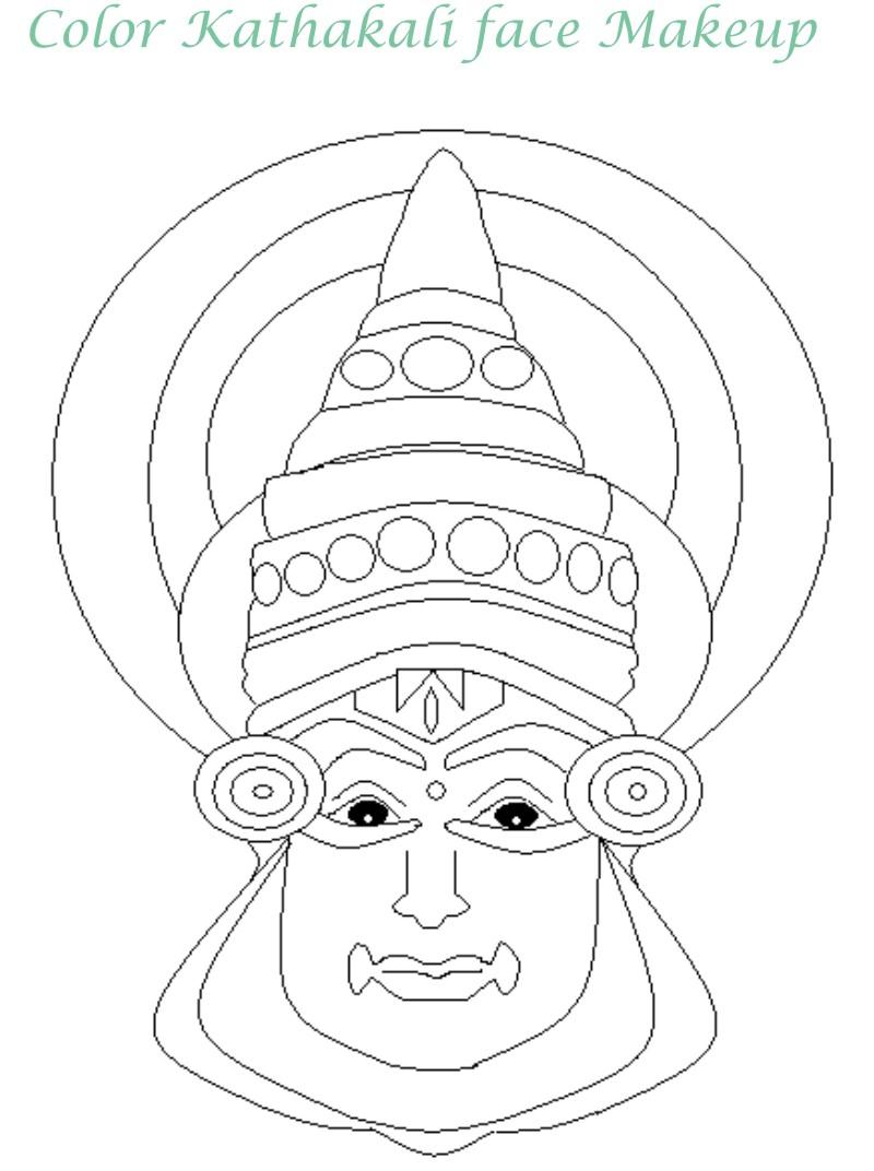 800x1072 Onam Festival Kathakali Face Mask Coloring Pages Coloring Pages