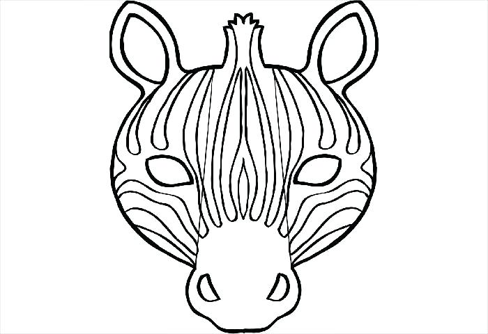700x480 Animal Face Mask Coloring Pages Zebra Template Kids Page Download