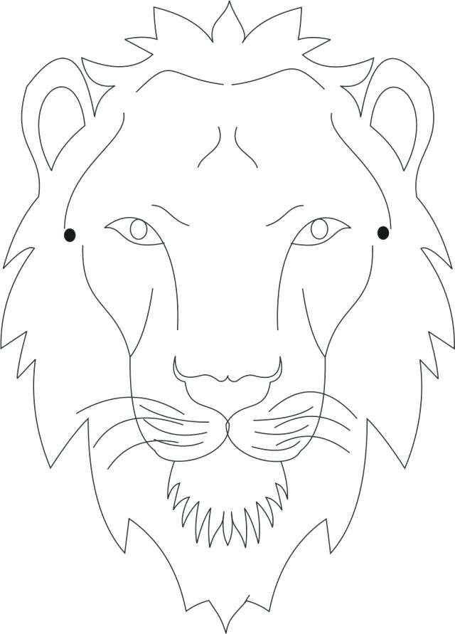 640x891 Lion Mask Coloring Page