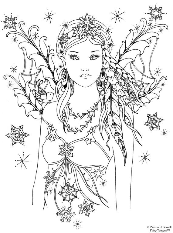 570x769 Fairy Coloring Cute Adult Fairy Coloring Pages