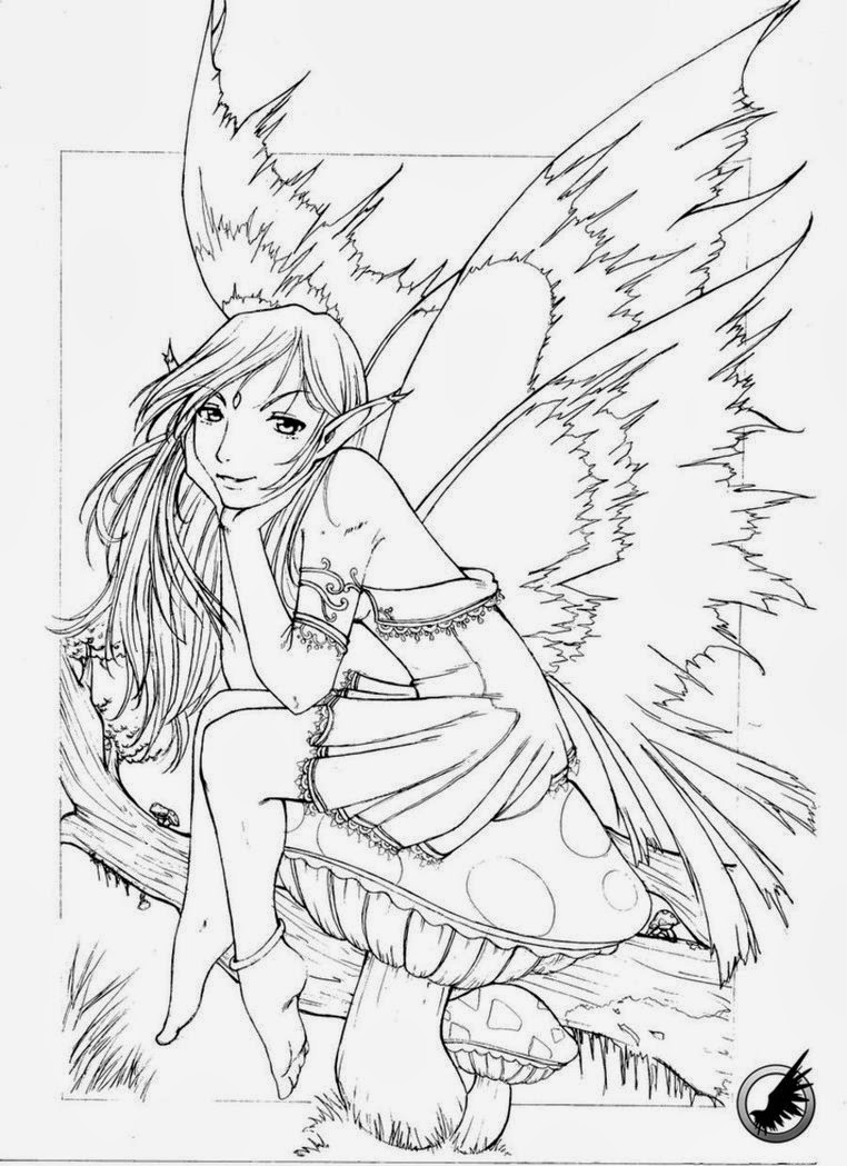 762x1049 Adult Fairy Coloring Page