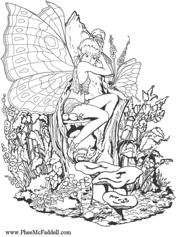 619x832 Fantasy Pages For Adult Coloring Coloring Page Forest Fairy