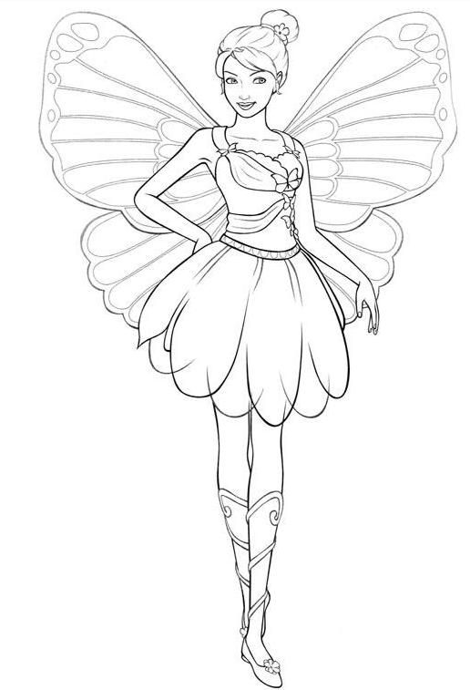 516x757 Girls Coloring Pages Barbie Fairy Crafts Fairy