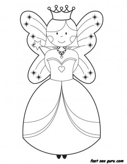 262x338 Printable Cute Fairy Coloring Pages For Girls
