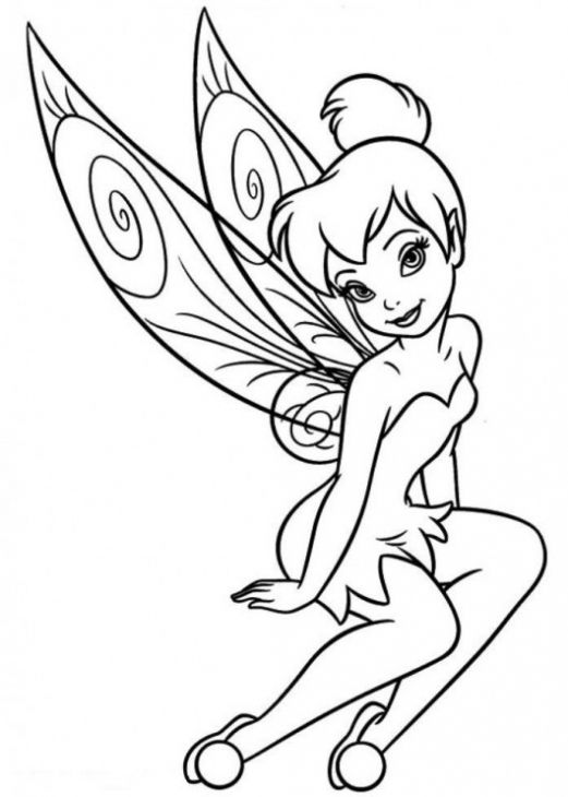 521x730 Cute Tinkerbell Fairy Coloring Page For Preschoolers Printable