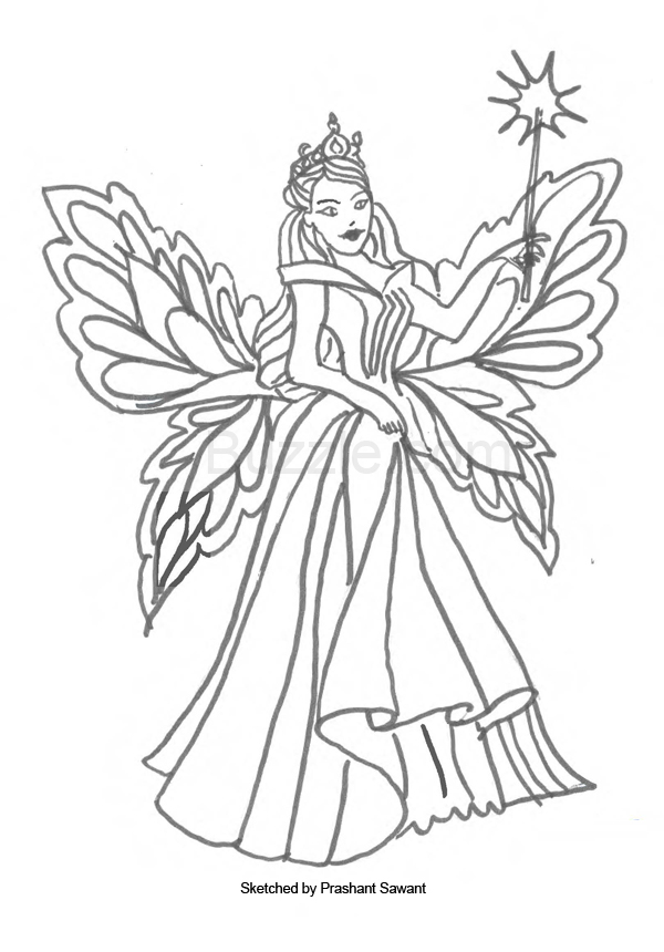 600x860 Fairy Coloring Pages For Kids Coloring Pages Draw A Fairy Coloring