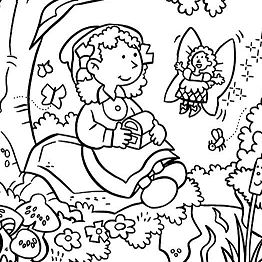 262x262 Fairy Give Treasure Chest In Garden Coloring Page