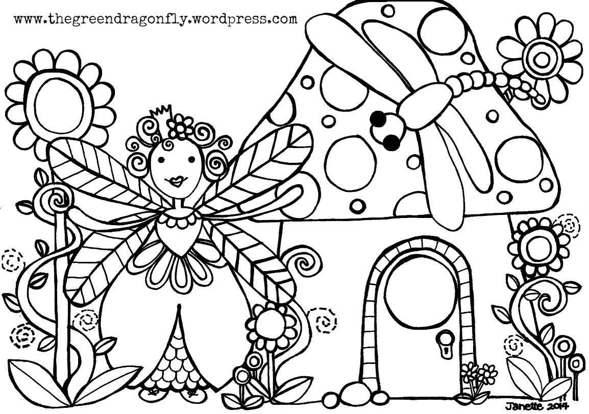 1154x811 Fairy House Adult Coloring Book Page Printable Instant
