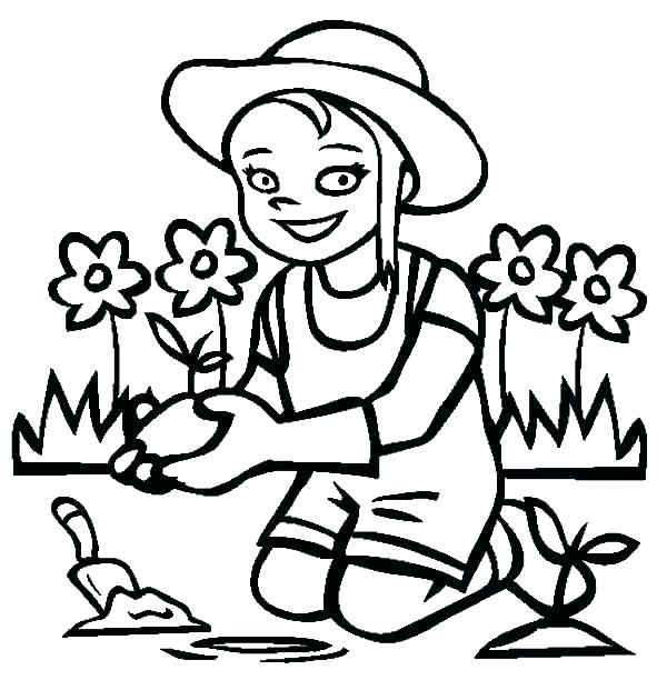600x612 Flower Garden Colouring Pages Free Vegetable Coloring Large Size